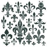 Fastställd heraldisk lilja för vektor för garnering och design royaltyfri illustrationer