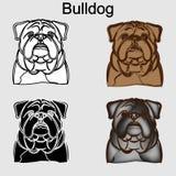 Fastställd illustration för bulldogg royaltyfri illustrationer