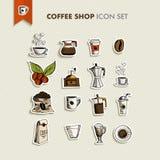 Fastställd illustration för coffee shopsymboler Royaltyfria Foton