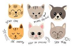 Fastställd illustration för gullig katt med inskrifter för tyg, t-skjorta, kort vektor illustrationer