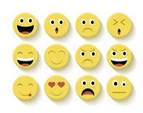 Fastställd illustration för gulliga emoticons Fotografering för Bildbyråer