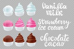 Fastställd jordgubbe för vektor, vanilj, chokladglass i kotten på den genomskinliga bakgrundsbokstäverhanden - gjord text Arkivfoton