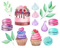 Fastställd kaka, muffin, makron, marshmallower, filialvattenfärgillustration på vit bakgrund tecknad hand royaltyfri illustrationer