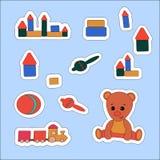 Fastställd klistermärke Teddy Bear och leksaker Vektorillustration, etikett, prislapp, baner, restanmärkning royaltyfri illustrationer