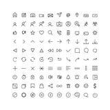 Fastställd kommunikationssymbol för rengöringsduken och mobilen, tunn linje vektor illustrationer