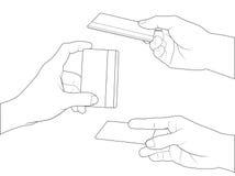 Fastställd kreditkort för hand royaltyfri illustrationer