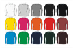 fastställd lång T-tröja, vektor Royaltyfri Foto