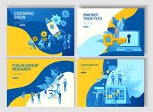 Fastställd landa app för affär för sidamallfolk cheduling, sammanslagning för mappskydd, forskning och utveckling som snart coomi vektor illustrationer