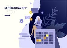 Fastställd landa app för affär för sidamallfolk planlagd, sammanslagning för strategisk planläggning, investeringstrategier, karr vektor illustrationer