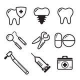 Fastställd linjär tand- medichinevektor för websitesymbol vektor illustrationer