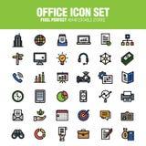 Fastställd linje färgversion för kontorssymbol stock illustrationer