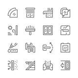 Fastställd linje symboler av fönstret Arkivbilder