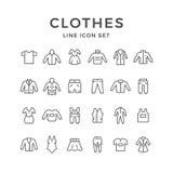 Fastställd linje symboler av kläder Royaltyfria Bilder