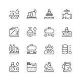 Fastställd linje symboler av oljeindustri Arkivbild