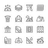 Fastställd linje symboler av taket stock illustrationer