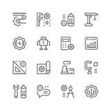 Fastställd linje symboler av teknik royaltyfri illustrationer
