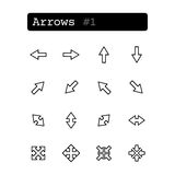 Fastställd linje symboler vektor arrowheaden royaltyfri illustrationer