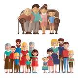 Fastställd lycklig stor familj Royaltyfri Bild