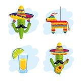 Fastställd mexikansk traditionell garnering till händelseberöm vektor illustrationer
