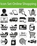 Fastställd online-shopping för symbol Arkivfoto