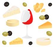Fastställd ost, exponeringsglas av vin och oliv Vektorillustration för designmenyer, recept och packeprodukt royaltyfri illustrationer
