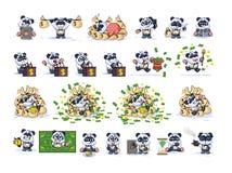 Fastställd pandabjörn i emoticons för klistermärkear för affärsdräkt vektor illustrationer