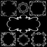 Fastställd ramteckning med krita på en svart tavla Vektor Illustratio stock illustrationer