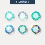 Fastställd realistisk diamant med reflex, ilsken blick och skugga royaltyfri illustrationer