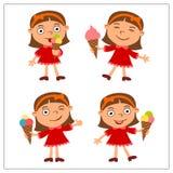 Fastställd rolig flicka i tecknad filmstil som äter glass arkivfoto