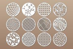 Fastställd rund mall för att klippa Abstrakt linje, geometrisk modell Laser-snitt Ställ in förhållande1:2 också vektor för coreld vektor illustrationer