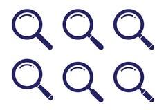 Fastställd sökandesymbolvariation på den plana stilillustrationen för för vektorsymbol för rengöringsduk, för mobil, för applikat stock illustrationer