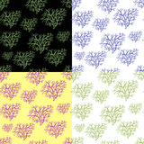 Fastställd sömlös modellkontur av träd i vinter vektor Arkivbilder