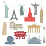 Fastställd samling för berömda arkitektoniska för världsgränsmärken plana symboler för vektor för rengöringsdukdesign och illustr royaltyfri illustrationer