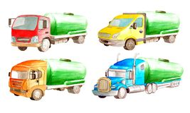 Fastställd samling för vattenfärg av cisternbehållarelastbilar med den samma kroppen men den gröna cylindern och olika kabiner på vektor illustrationer