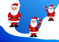Fastställd Santa Clauses vit bakgrund vektor illustrationer