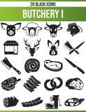 Fastställd slakt I för svart symbol stock illustrationer