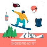 Fastställd snowboardingsport för vektor Stock Illustrationer