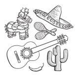 Fastställd sombrero-, pinata-, maraca-, kaktus-, chili- och spanjorgitarr för mexikan stock illustrationer