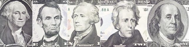 Fastställd stående för amerikanska presidenter på dollarräkning Royaltyfri Foto