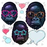 Fastställd ståendeapa för vektor, gorilla i de ljusa exponeringsglasen för mode, stående av apan i solglasögon stock illustrationer