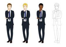 Fastställd stilig affärsman som tänker för att göra beslut Full kroppvektorillustration vektor illustrationer