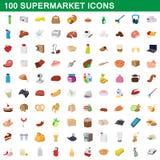 100 fastställd supermarket, tecknad filmstil royaltyfri illustrationer