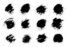 Fastställd svart målarfärg, färgpulverfärgstänk, borstar ink små droppar, fläckar Svart färgpulver plaskar grungebakgrund som iso royaltyfri illustrationer