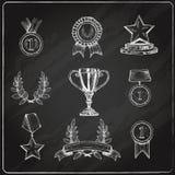 Fastställd svart tavla för utmärkelsesymboler Arkivfoto