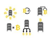 Fastställd symbol för för Cryptocurrency extraktion och utbyte bryta Bitcoin stock illustrationer
