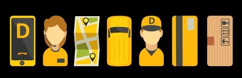 Fastställd symbol för hemsändning Isolerad vektorlägenhetillustration för affär, informationsdiagram, baner, presentationer Arkivfoto