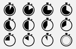 Fastställd symbol för stoppur för illustrationsköld för 10 eps vektor royaltyfri illustrationer