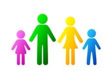 fastställd symbolperson: fostra, avla och ungar som isoleras på vit Arkivfoton