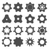 Fastställd symbolsillustration för kugghjul för design stock illustrationer