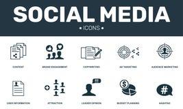 Fastställd symbolssamling för socialt massmedia Inkluderar enkla beståndsdelar liksom innehåll, Copywriting, budgetplanläggning o royaltyfri illustrationer